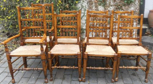 Set of Eight Beech & Elm Rush Seat Spindleback Dining Chairs